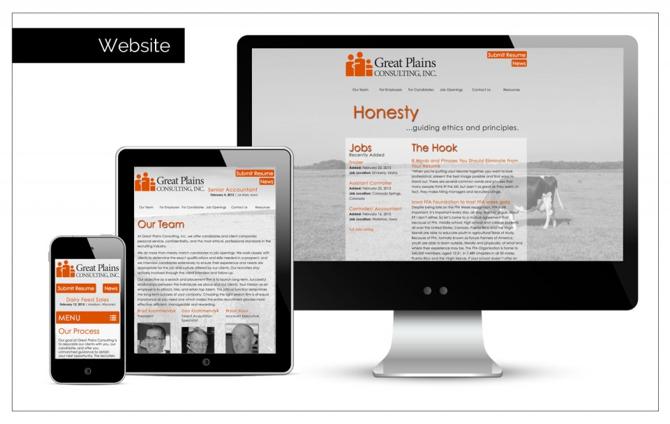 Marketing Company Northwest Iowa - website with scrolling job listings by Agency Two Twelve - Marketing, Communications and Public Relations firm in Sioux Center, Iowa