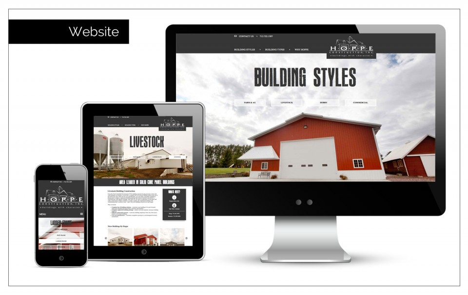 A new construction website designed by Agency Two Twelve - Marketing, Communications and Public Relations firm in Sioux Center, Iowa