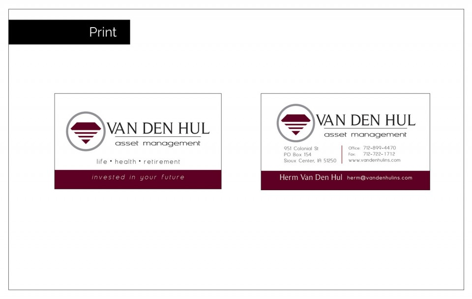 Diamond shape logo for Van Den Hul on Business Cards