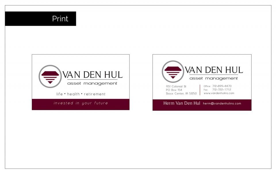 Diamond shape logo for Van Den Hul on Business Cards