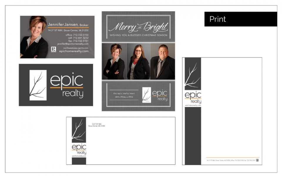 Agency Two Twelve logo development and print material for Epic Realty - Logo Design Northwest Iowa