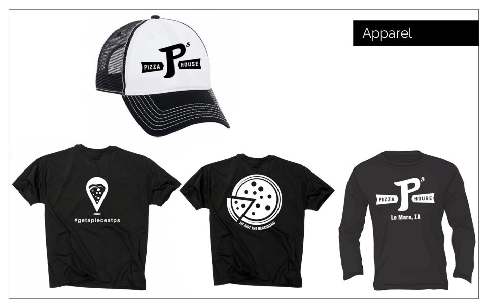 Online Branding Northwest Iowa - Designed new apparel for P's Pizza House in Le Mars, IA