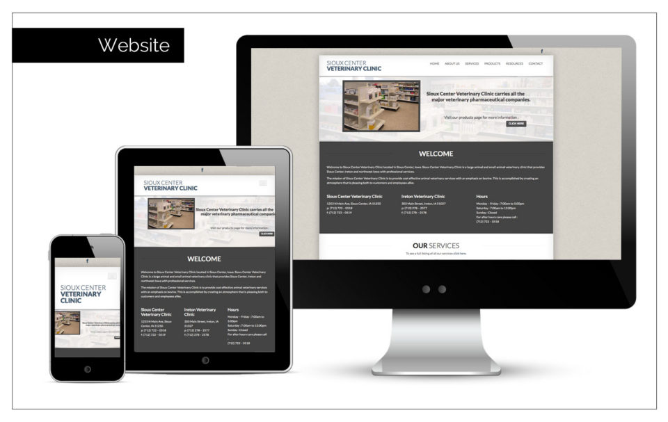 Website Advertising Northwest Iowa - Agency Two Twelve designs a simple site to advertise Sioux Center Veterinary Clinic